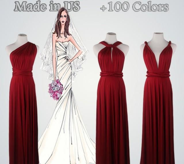 Handmade Bridesmaid Dresses,Wine Red Dress,Red Bridesmaid Dress,Floor-Length Bridesmaid Dress,Bridesmaid GownWhat can be better than a dress that can be suitable for many occasions! Create infinite styles with a convertible dress. It is very fashionable, It will let you shine from day to night, from a formal wedding to a casual beach party! It all depends on how you want it be!We have over 95 different colors. All dresses is made to order, please indicate which color you like when placing...