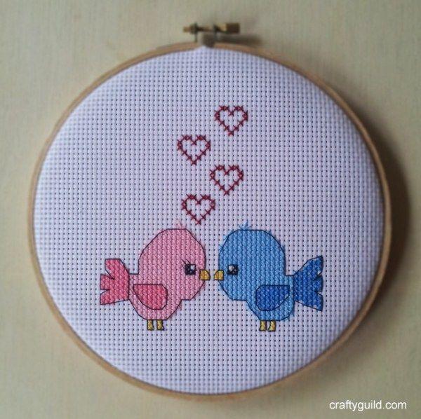 love birds free cross stitch pattern 1-craftyguild.com