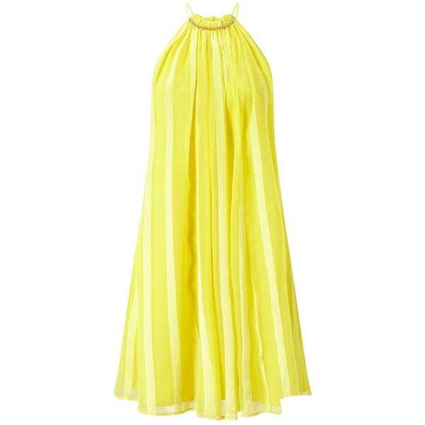 Miss Selfridge Yellow Beaded Halter Dress ($34) ❤ liked on Polyvore featuring dresses, yellow, halter-neck dress, yellow dresses, day to night dresses, miss selfridge and beading dress