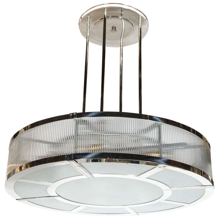Art Deco Circular Chandelier in the Manner of Petitot with Glass Rods 1