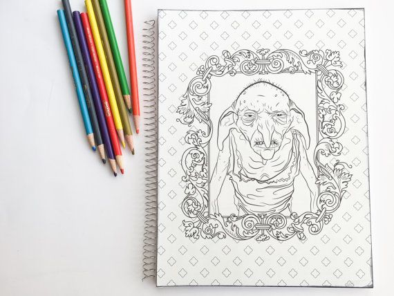 SALE 3 Harry Potter Adult Coloring Book Notebook With Dobby And Kreacher