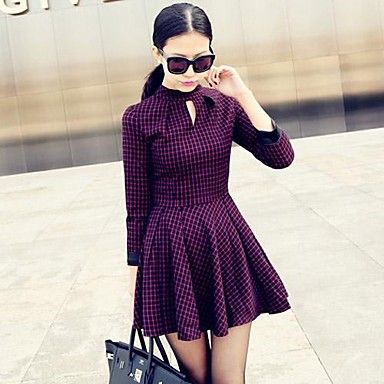 Women's Slim Waist Red Grid Dress
