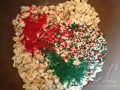 Reindeer food - oatmeal and sprinkles mixed together. Sprinkle on the lawn on Christmas Eve so the reindeer can find the house.
