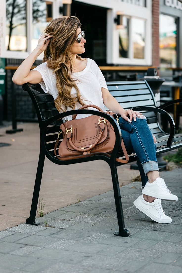 what to wear to baseball game, greats sneakers, white tee, AG distressed denim, chloe bag