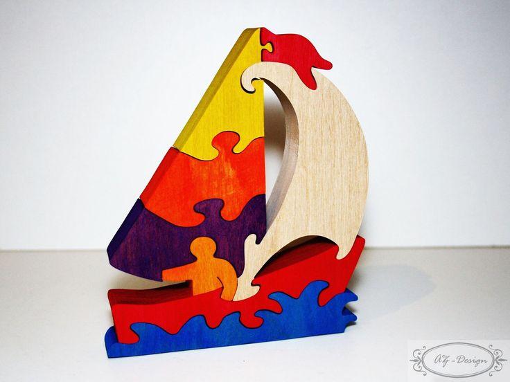 Puzzle en bois, voilier avec son matelot, bateau, mer, l'eau, jouet enfant : Jeux, jouets par az-design
