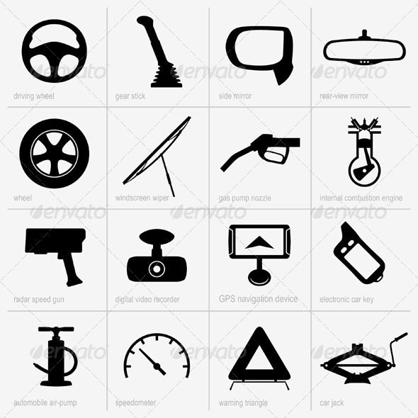 Car Object Icons  #GraphicRiver         Set of car object icons     Created: 14August13 GraphicsFilesIncluded: VectorEPS Layered: No MinimumAdobeCSVersion: CS Tags: air-pump #car #combustion #design #device #digital #electronic #engine #gear #gps #graphic #icon #key #meter #mirror #navigation #nozzle #pictogram #pump #radar #recorder #set #side #silhouette #speedometer #triangle #vector #wheel #windscreen #wiper