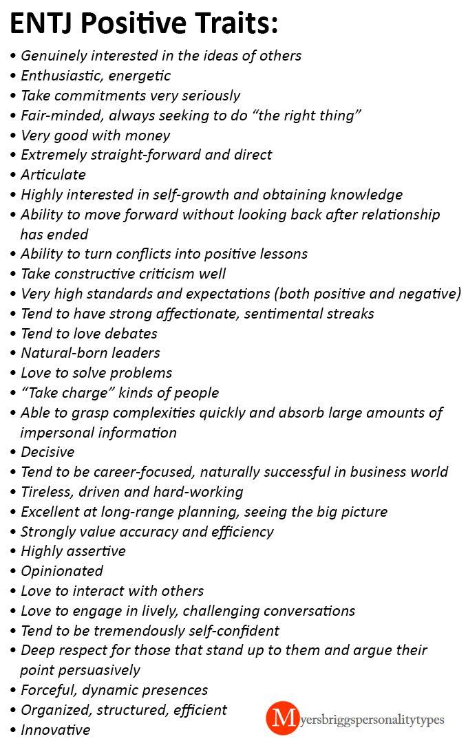 ENTJ - positive traits. I like to think I tick a lot of these off!