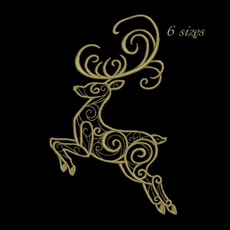 deer embroidery designs pattern machine embroidery design animal embroidery design Christmas deer,winter,ornate horned by GretaembroideryShop on Etsy