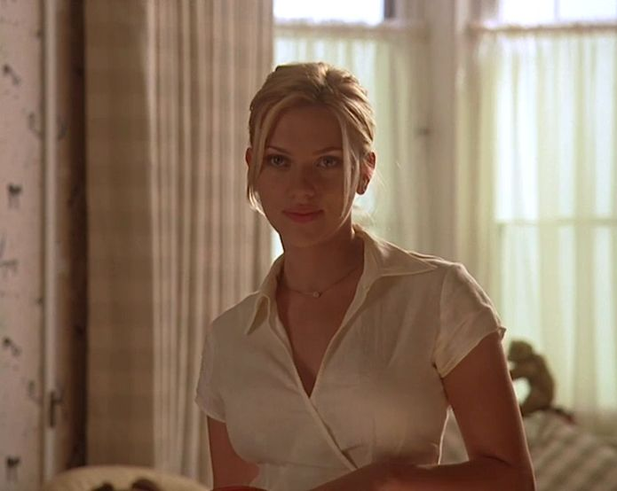 "White wrap shirt dress.  From ""Match point"" by Woody Allen, Scarlett Johansson"