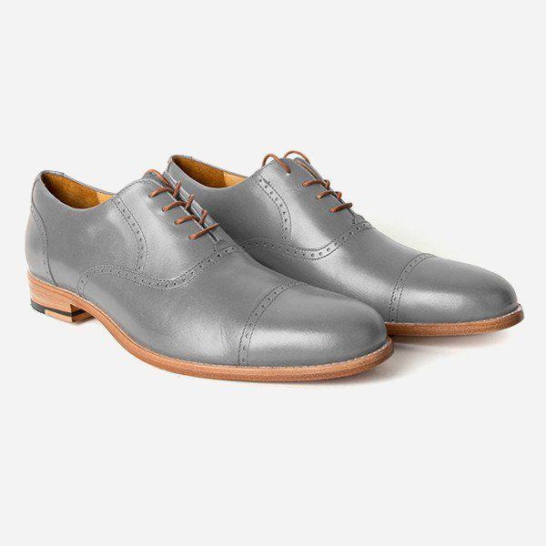 The Toronto Brogue - grey leather brogue mens custom dress shoes - Poppy Barley