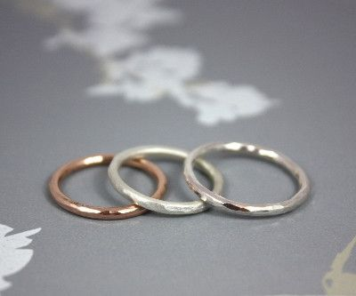 Dainty hammered rings in silver and 9ct gold Silver £50 9ct rose or yellow gold £120
