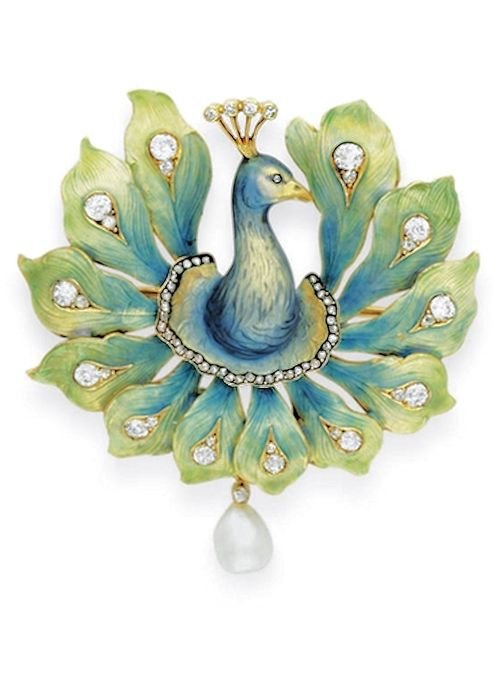 French Peacock brooch c.1900 :: Enamel, diamond and pearl - The blue and gold enamel head and neck with a rose-cut diamond eye and head feathers