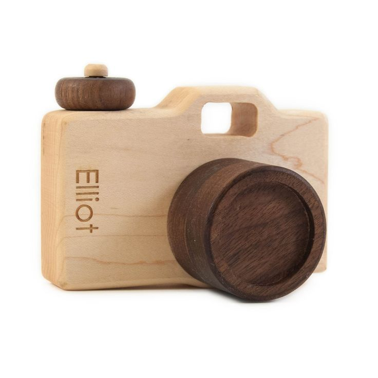 personalized wooden toy camera, modern organic imagination toy. $43.00, via Etsy.