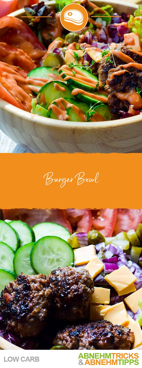 Bunt gemischte Low Carb Burger Bowl – Fleisch Low Carb