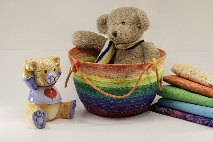 A personal favorite from my Etsy shop https://www.etsy.com/ca/listing/238238404/rainbow-coiled-cord-basket-by-batik