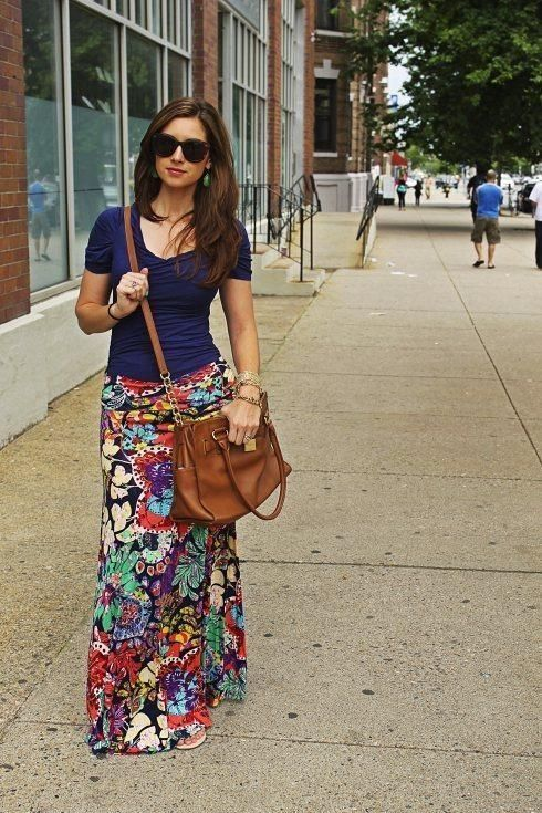 Floral maxi skirt, navy tshirt, and brown leather bag