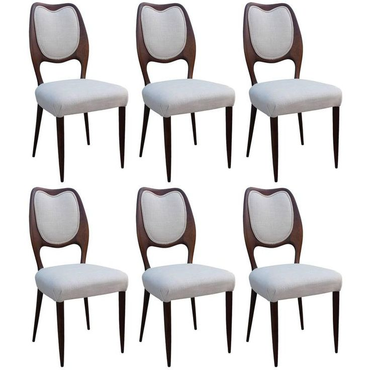 Stunning Set of Six Sculptural Italian Dining Chairs | From a unique collection of antique and modern dining room chairs at https://www.1stdibs.com/furniture/seating/dining-room-chairs/