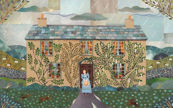 Beatrix Potter Print - Hill Top - Cut Paper Collage - Writers' Houses - English Literature - Lake District - Gift for Booklovers