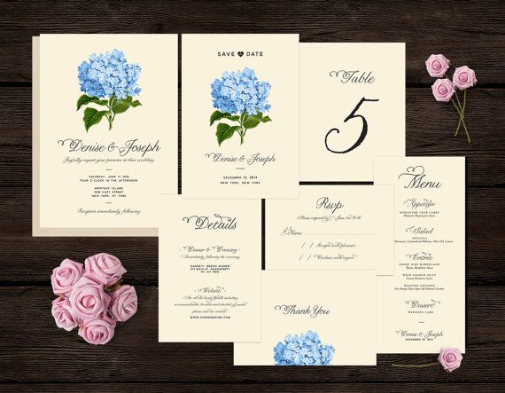 Botanical Wedding Invitation Set, Kit, Suite, Printable, Save the Date, RSVP, Details Card, Thank You Card, Menu, Table Number, Blue, Pink