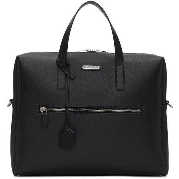 Saint Laurent Black Leather ID Briefcase (17.254.490 IDR) ❤ liked on Polyvore featuring men's fashion, men's bags, men's briefcases, black and mens leather briefcase