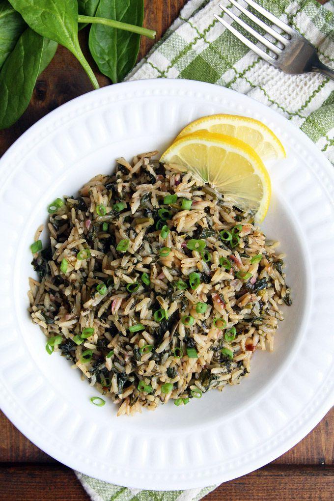 Greek Spinach Rice - Spanakorizo - LeelaLicious