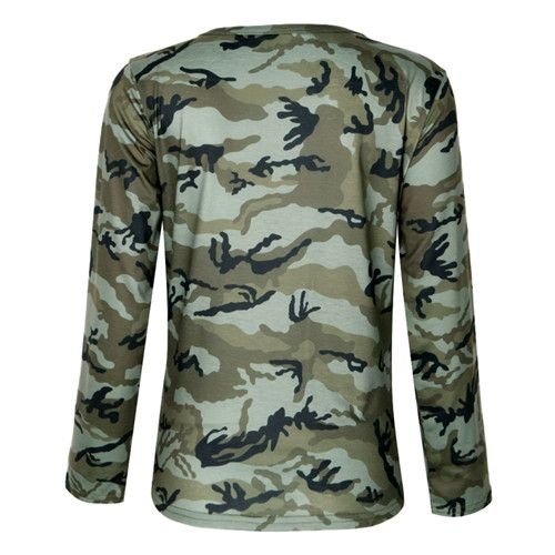 2017 Women Sexy T-Shirt Camouflage O-Neck Lace Up Halter Top Shirt Ladies Loose Bandege Camo Tee Tracksuit Female Sudadera-448E
