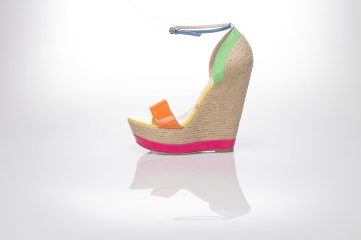 crazy colors wedge sandal!  multicolor patent leather, natural rafia for the wedge,  Gianni Renzi Couture Luxury leather shoes, sexy high heels