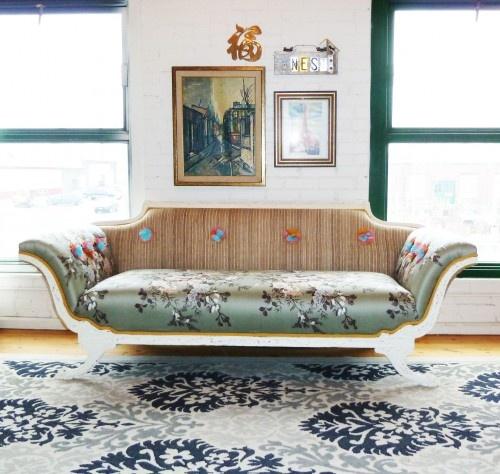 sofa: Living Rooms, Renewals Empire, Loft Living, Vintage Renewals, Fleas Marketing, Loft Spaces, Empire Sofas, Furniture, Eclectic Living Room