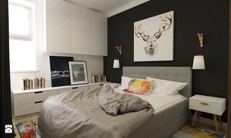 sypialnie nowoczesne - Średnia sypialnia małżeńska, styl vintage - zdjęcie od Grafika i Projekt architektura wnętrz