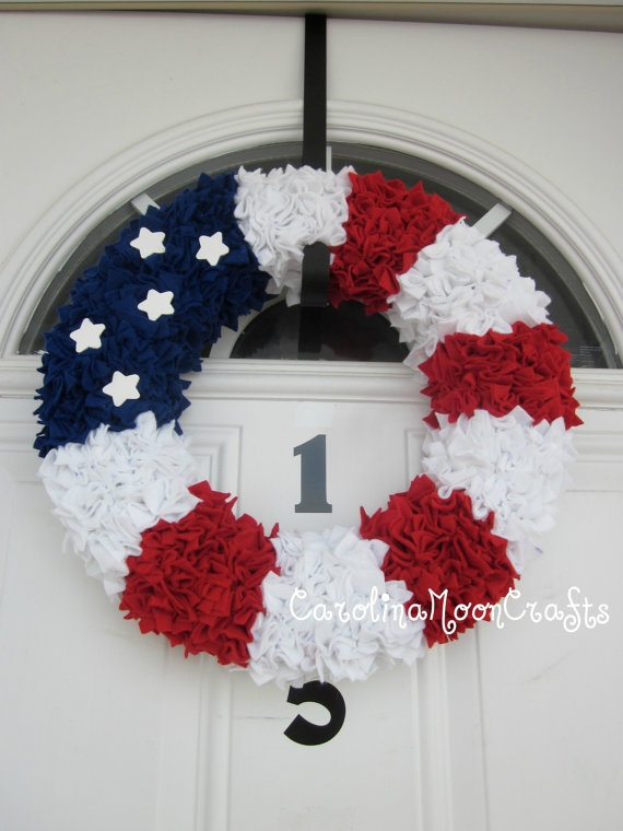 Patriotic Wreath  Support our Troops  USA  by CarolinaMoonCrafts