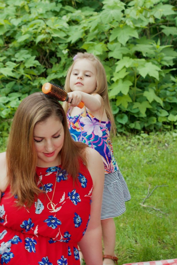 This summer, my daughter and I all about bright & bold fashion paired with voluminous hairstyles! Here's a peek at mornings together and our everyday hair.