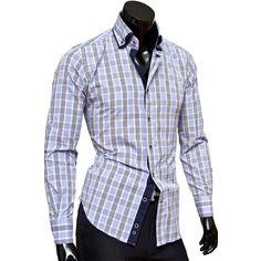 Рубашка Venturo приталенная цвет голубой в клетку