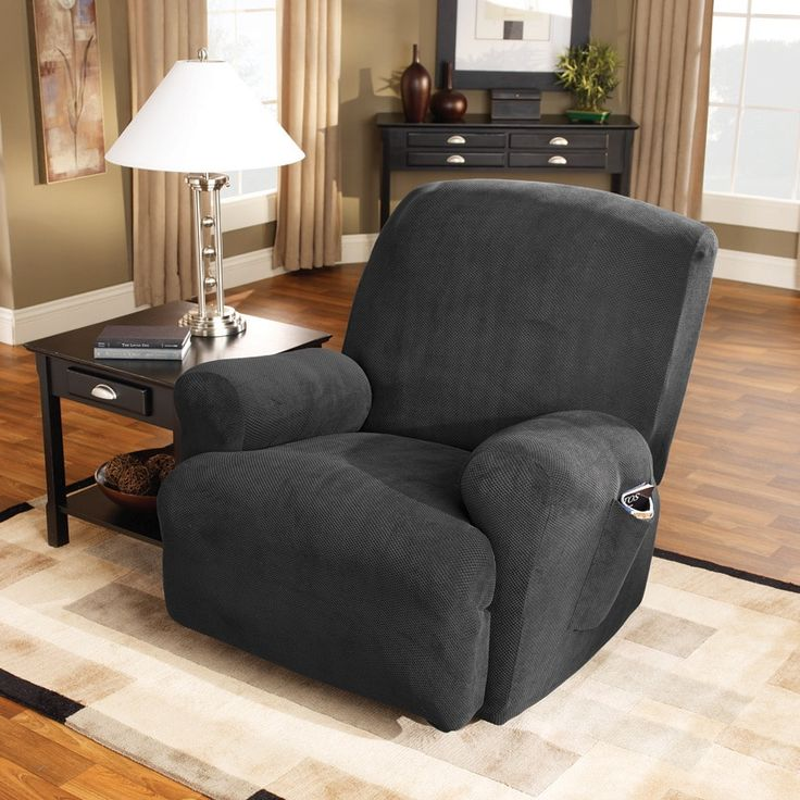 Sure Fit Stretch Simply Recliner Slipcover (Pearl / Recliner), White (Polyester, Solid)