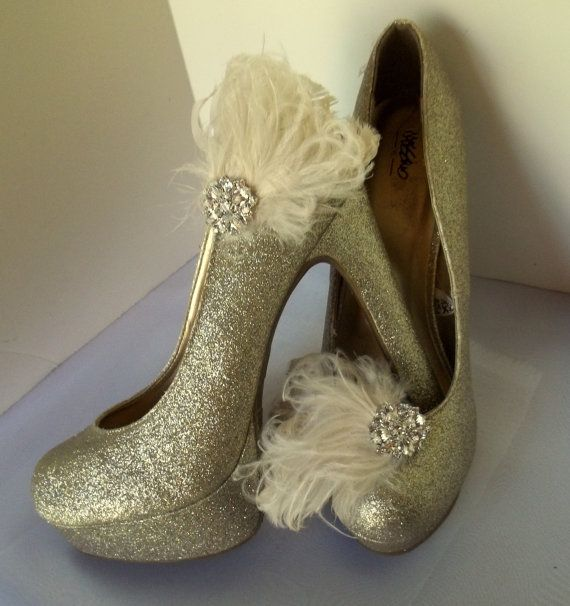Bridal Shoe Clips  Curled feathers casual womens by ShoeClipsOnly, $34.00