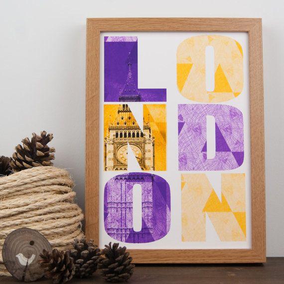 Typographic London art print, Big Ben purple and yellow geometric pattern, abstract illustration, London art illustration.