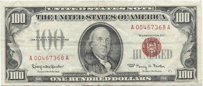 100 Dollars 1966 Franklin Legal Tender Note Geldscheine Geld Aktien