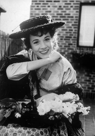 Scene from the stage version of <i>My Fair Lady</i> with Julie Andrews as Eliza Doolittle, 1956.