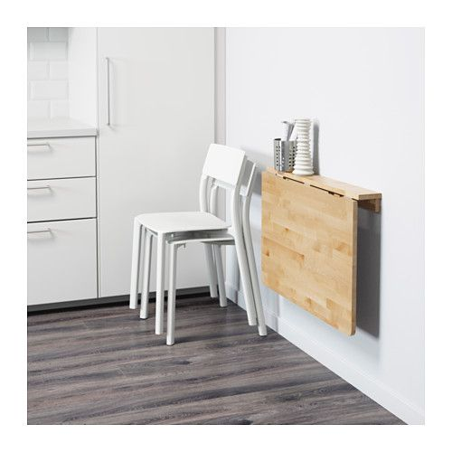 NORBO Wall-mounted drop-leaf table, birch