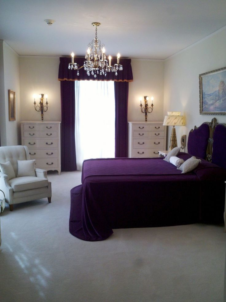 Bedroom Ideas Beautiful Purple Bed Cover Set Feat Antique Brushed Brass Bedroom…
