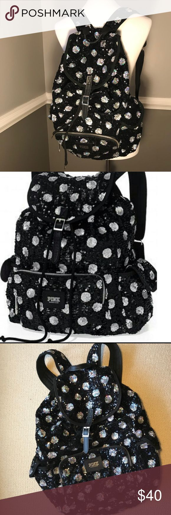 VS PINK sequin polka dot backpack Victoria's Secret PINK black and silver sequin polka dot backpack. Adjustable straps. Large interior with front zipper pocket and two side pockets. Great pre owned condition. Only flaw is nail polish? stains on the inside. (See last pic). PINK Victoria's Secret Bags Backpacks