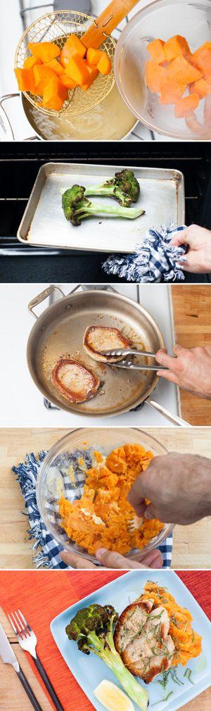 Pork Chops with Smashed Sweet Potatoes & Roasted Broccoli
