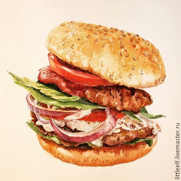 Print hamburger / Вкусный гамбургер - коричневый, рисунок, еда, гамбургер, свитер, свитшот, свитер женский