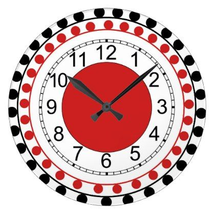 Round wall clock with black and red dots - red gifts color style cyo diy personalize unique