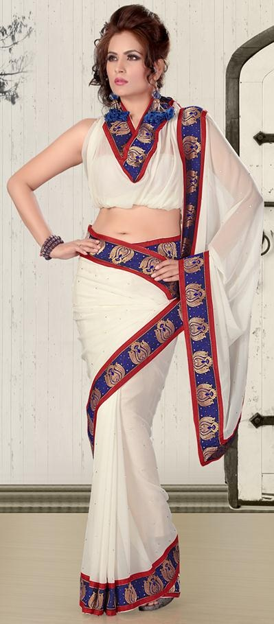 $37.47 White Embroidery with Stone Work Chiffon Simple Saree 24152