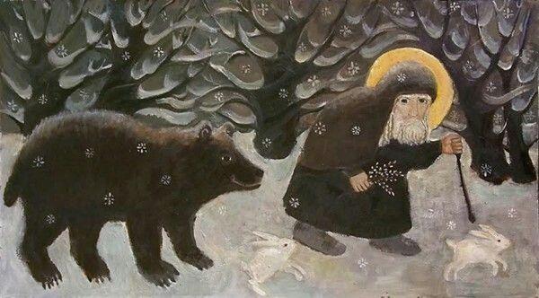 Преподобный в зимнем лесу