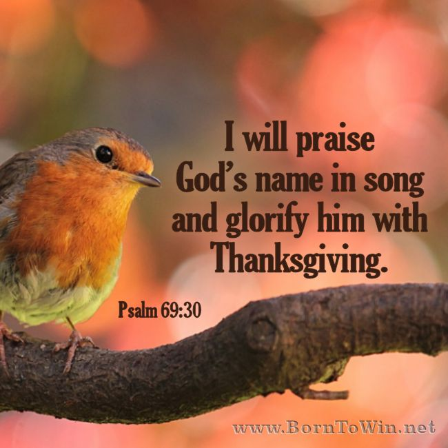 I will praise God's name in song     and glorify him with ... by Born To Win CEM on Pinterest