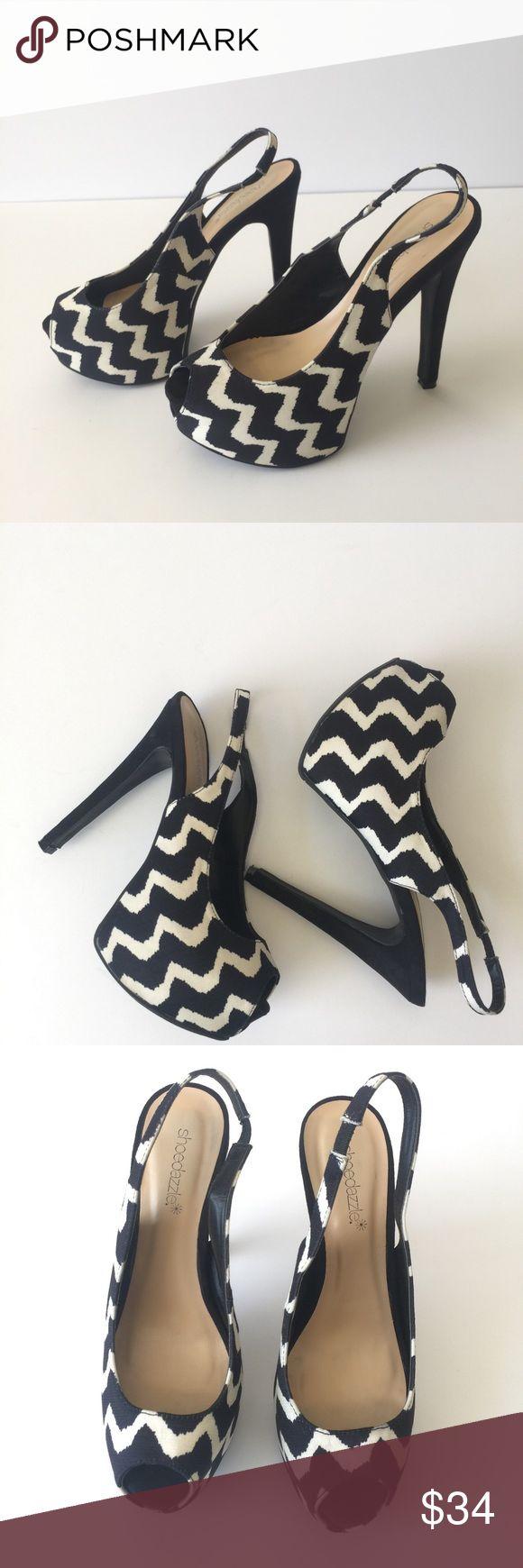 ❤SHOE DAZZLE, SZ 8, BLACK/WHITE HEEL/PLATFORM❤ Size 8, Shoe Dazzle, Black/White Heel/Platform. Worn once. Excellent condition. Shoe Dazzle Shoes Platforms