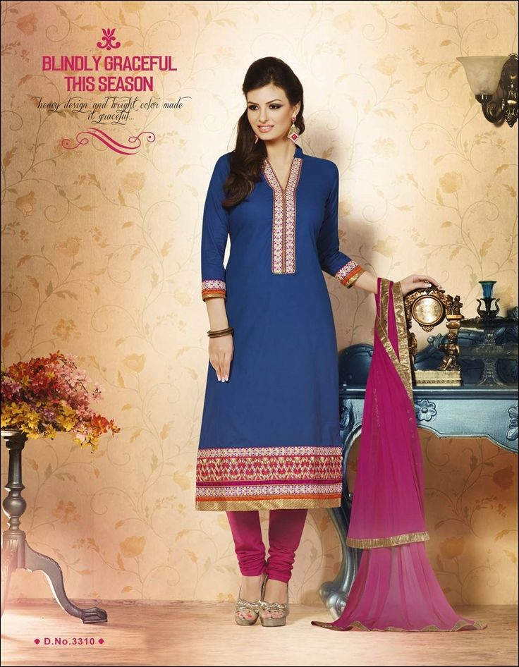 Blue and pink Chudidar Suit with embroidery