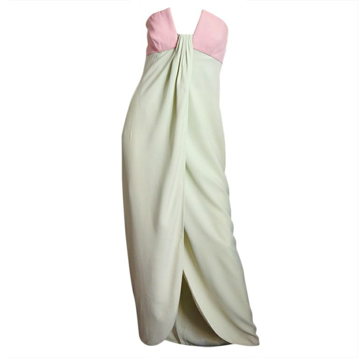 Color blocking. 1965 Valentino Silk Pink & Mint Gown