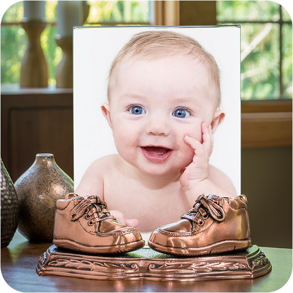 """Bronzed Shoes Mounted on All-Metal Portrait Stand with 8x10"""" Acrylic Photo Frame"""